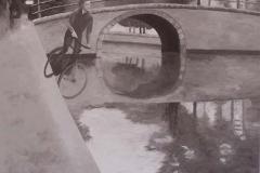 Bas Jan Ader, 90 x 100 cm, olieverf op mdf.   Verkocht.