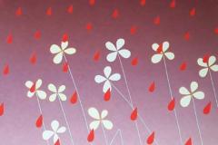 Het regent rood, 70 x 60 cm, olieverf op mdf.  Verkocht.