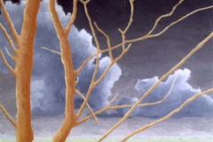 Oranje boom, 10 x 14 cm, olieverf op mdf.  Verkocht.