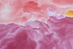 Roze Wolk, 20 x 30 cm, olieverf op mdf.   Verkocht.