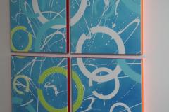 Een vision canvas voor cetivicerings bedrijf C+, Olie op doek. 4 doeken van 50 x 50.  Verkocht.