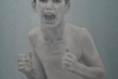 Jongetje van Beslan, 70 x 60 cm, olieverf op mdf.  Verkocht.